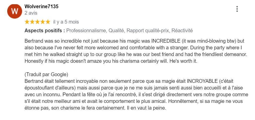 Retour client magie